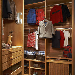 Design ideas for a contemporary walk-in wardrobe in Los Angeles with open cabinets and medium wood cabinets.