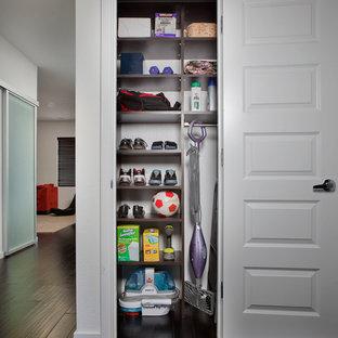 Idee per un piccolo armadio o armadio a muro minimalista con ante in legno bruno