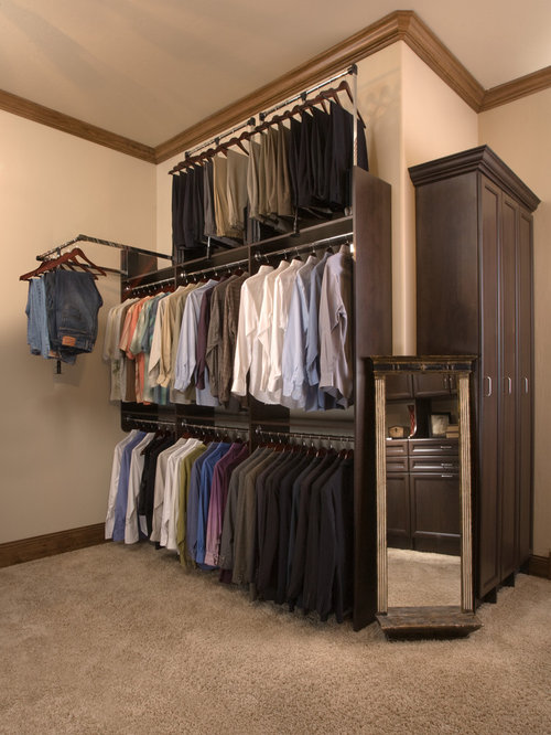 Traditional Gender Neutral Carpeted Walk In Closet Idea In Orange County  With Recessed