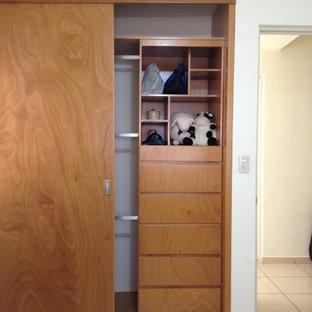 Immagine di un piccolo armadio o armadio a muro unisex minimal con ante in legno scuro e pavimento con piastrelle in ceramica