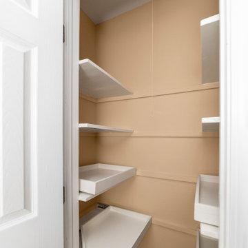 Closet in narrow hallway