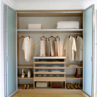 Modelo de armario unisex, minimalista, pequeño, con armarios tipo vitrina, puertas de armario de madera clara y suelo de madera clara
