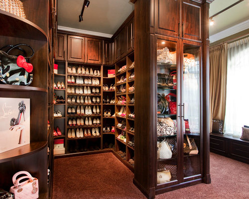 Nice Example Of A Large Classic Womenu0027s Carpeted Walk In Closet Design In Tampa  With Glass