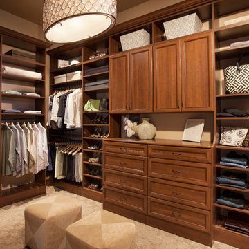 Cognac Walk-in Closet with Dresser Hutch and Doors