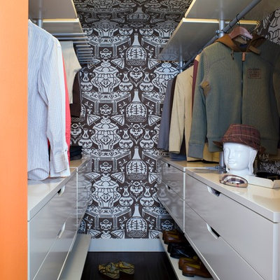 Walk-in closet - contemporary men's walk-in closet idea in Los Angeles with flat-panel cabinets and white cabinets