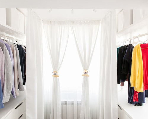 Contemporary Closet Design Ideas, Remodels & Photos with Plywood Floors