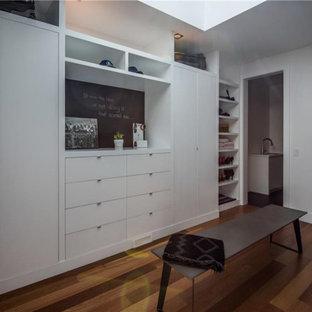 Diseño de armario vestidor unisex, contemporáneo, grande, con armarios con paneles lisos, puertas de armario blancas, suelo de madera en tonos medios y suelo marrón