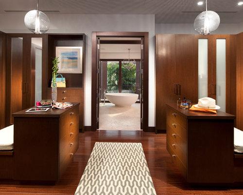 Closet   Contemporary Closet Idea In Miami With Dark Wood Cabinets