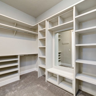 Modelo de armario vestidor unisex, de estilo americano, de tamaño medio, con armarios abiertos, puertas de armario blancas, moqueta y suelo gris