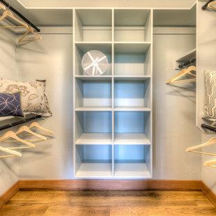 Imagen de armario vestidor unisex, de estilo americano, grande, con armarios abiertos, puertas de armario blancas y suelo de madera en tonos medios