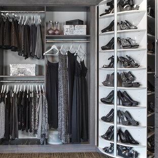 Example of a mid-sized classic women's carpeted and multicolored floor walk-in closet design in Chicago with flat-panel cabinets and gray cabinets
