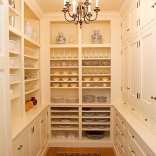 Imagen de armario vestidor unisex, clásico, de tamaño medio, con armarios con paneles lisos, puertas de armario blancas y suelo de madera en tonos medios