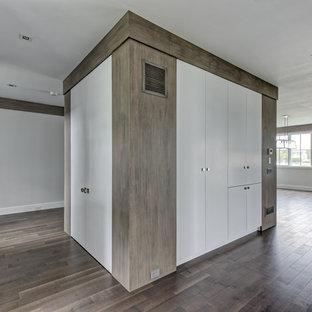 Ejemplo de armario unisex, tradicional renovado, de tamaño medio, con armarios con paneles lisos, puertas de armario blancas, suelo de madera pintada y suelo marrón