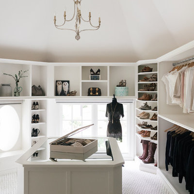 Walk-in closet - large transitional women's carpeted and white floor walk-in closet idea in Atlanta with open cabinets and white cabinets