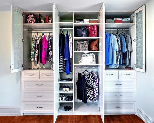100 Reach-In Closet with Recessed-Panel Cabinets Design Ideas & Remodel Pictures | Houzz