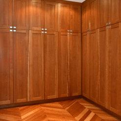 Custom Cherry Cabinets with Herringbone flooring