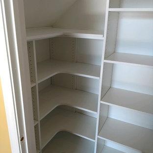 Diseño de armario unisex, tradicional renovado, pequeño, con armarios abiertos, puertas de armario blancas, suelo de madera oscura y suelo marrón