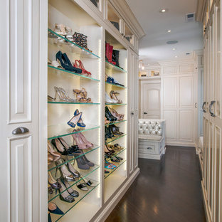 Custom Couture Master Closet with Glass Shoes Display Shelving