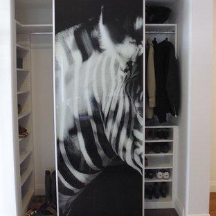 Immagine di un piccolo armadio o armadio a muro unisex nordico con nessun'anta e ante bianche
