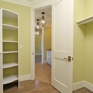 Diseño de armario vestidor unisex, tradicional renovado, de tamaño medio, con armarios con paneles empotrados, puertas de armario blancas, suelo de madera en tonos medios y suelo marrón
