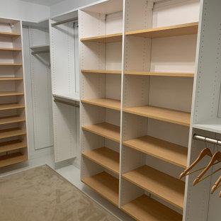 Inspiration för ett mellanstort funkis omklädningsrum för kvinnor, med vita skåp, heltäckningsmatta och grått golv