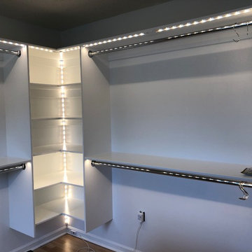 Custom Shoe and Boot Storage - LED Lighting - Master Closet