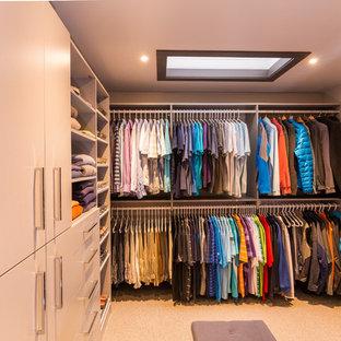 Diseño de vestidor unisex, clásico renovado, grande, con armarios con paneles lisos, puertas de armario grises, moqueta y suelo beige