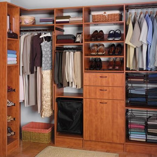 Inspiration for a mid-sized modern gender-neutral walk-in wardrobe in Other with flat-panel cabinets and medium wood cabinets.