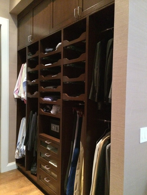 Traditional Closet Design Ideas, Remodels & Photos with Dark Wood Cabinets