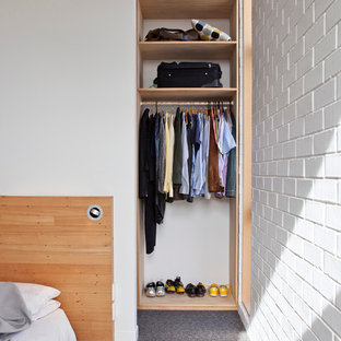 Reach-in closet - small contemporary gender-neutral carpeted reach-in closet idea in Auckland with open cabinets and light wood cabinets