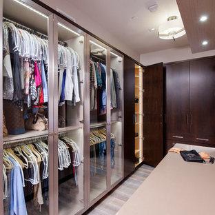 他の地域の小さい男女兼用コンテンポラリースタイルのおしゃれなフィッティングルーム (ガラス扉のキャビネット、濃色木目調キャビネット、淡色無垢フローリング、グレーの床) の写真