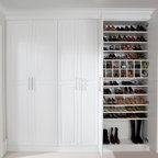 transFORM - Dressing Room Shoe Closet - Enclosed shoe wall with numerous shelves and cubbies.