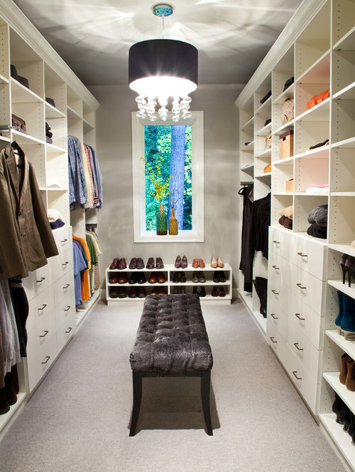 Transitional Carpeted Dressing Room Idea In Los Angeles With Open Cabinets  And White Cabinets