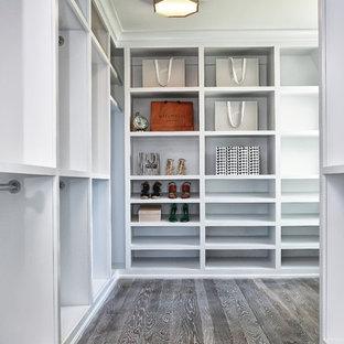 Modelo de armario vestidor unisex, marinero, grande, con armarios abiertos, puertas de armario blancas, suelo gris y suelo de madera en tonos medios