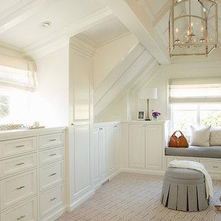 サンフランシスコの巨大な女性用ビーチスタイルのおしゃれなフィッティングルーム (白いキャビネット、カーペット敷き、マルチカラーの床、落し込みパネル扉のキャビネット) の写真