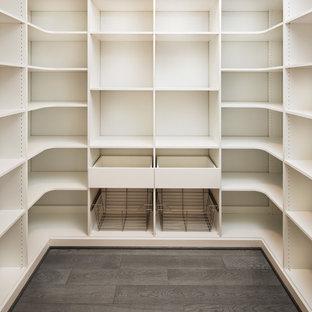 Cette image montre un grand dressing minimaliste neutre avec un placard à porte plane, des portes de placard en bois clair, un sol en bois clair et un sol marron.