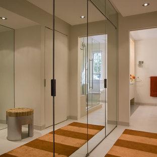 ワシントンD.C.のコンテンポラリースタイルのおしゃれな壁面クローゼット (ガラス扉のキャビネット) の写真