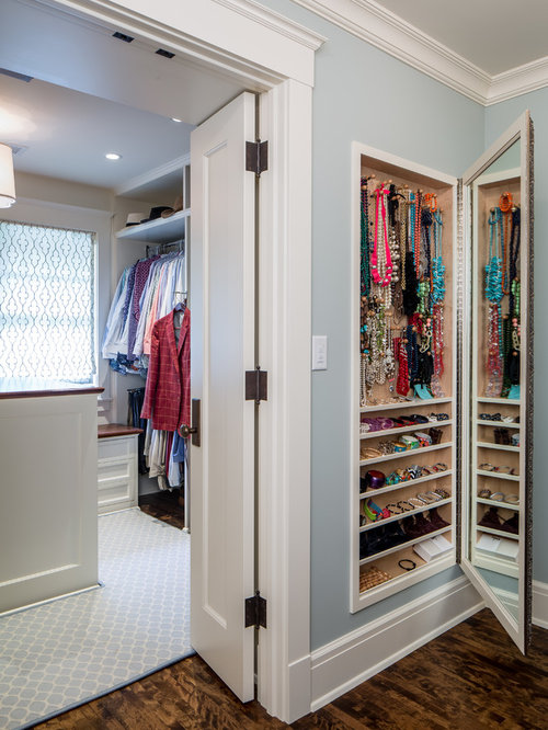 Closet Ideas Part - 33: Inspiration For A Large Timeless Womenu0027s Dark Wood Floor Dressing Room  Remodel In Minneapolis With Open