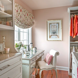 Dressing room - mid-sized shabby-chic style women's medium tone wood floor and brown floor dressing room idea in Philadelphia with shaker cabinets and white cabinets