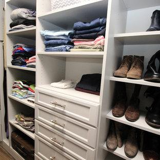 Imagen de armario vestidor unisex, clásico renovado, grande, con armarios con paneles empotrados, puertas de armario grises y suelo de linóleo