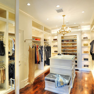 Large elegant gender-neutral dark wood floor walk-in closet photo in Los Angeles with open cabinets and white cabinets
