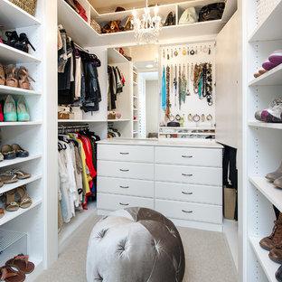 Idéer för små vintage walk-in-closets för kvinnor, med vita skåp, heltäckningsmatta, luckor med upphöjd panel och grått golv