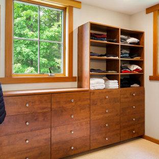 Modelo de armario vestidor de estilo americano, grande, con armarios con paneles lisos, puertas de armario de madera oscura, moqueta y suelo blanco