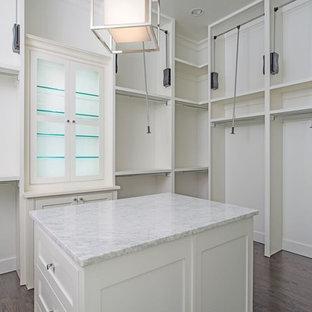 Idéer för ett stort modernt walk-in-closet för könsneutrala, med skåp i shakerstil, vita skåp och mörkt trägolv
