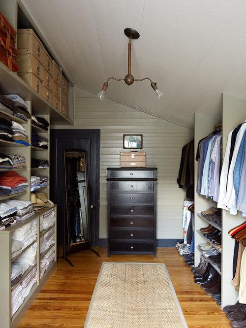 Farmhouse Medium Tone Wood Floor Closet Idea In Austin