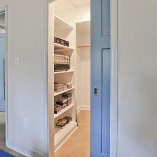 Photo of a mid-sized midcentury walk-in wardrobe in DC Metro with flat-panel cabinets and white cabinets.
