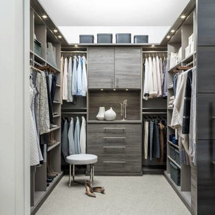 Mid-sized transitional gender-neutral carpeted and beige floor walk-in closet photo in Grand Rapids with flat-panel cabinets and gray cabinets