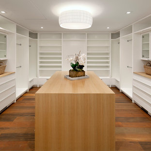 Minimalist gender-neutral medium tone wood floor and brown floor walk-in closet photo in Santa Barbara with open cabinets and white cabinets