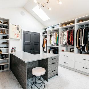 Klassischer Begehbarer Kleiderschrank mit flächenbündigen Schrankfronten, weißen Schränken, Teppichboden, grauem Boden und gewölbter Decke in Sonstige