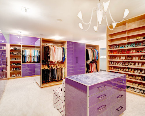 Modern Dressing Room Idea In Atlanta With Open Cabinets And Medium Tone  Wood Cabinets